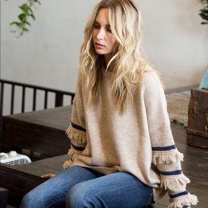 Navy and Taupe Fringe Sleeve Sweater
